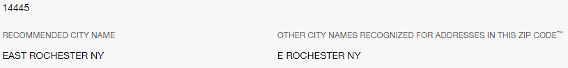 Recommended city name: East Rochester. Abbreviated city name: E Rochester.